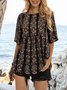 Black Half Sleeve Crew Neck Floral-Print Floral Shirts & Tops