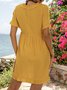 Yellow Holiday Short Sleeve Ruffled V Neck Dresses
