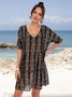 Black Floral Short Sleeve Paneled Cotton-Blend Dresses