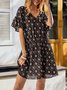 Black Floral Short Sleeve Dresses