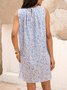 Blue Crew Neck Shift Cotton-Blend Sleeveless Dresses