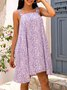 Violet Cotton-Blend A-Line Square Neck Sleeveless Dresses