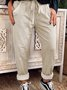Light Gray Drawstring Casual Cotton-Blend Pants