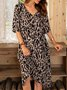 Brown Casual A-Line Half Sleeve Dresses