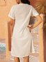 White Short Sleeve Paneled Cotton-Blend Dresses