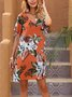 Orange A-Line Short Sleeve Casual Floral Dresses