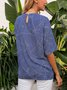 Blue Crew Neck Half Sleeve Boho Paneled Shirts & Tops