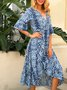 Blue A-Line Half Sleeve Leopard Printed Dresses