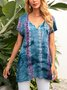 Blue Floral-Print Cotton-Blend Boho Shirts & Tops