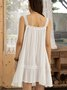 White Swing Casual Sleeveless Dresses