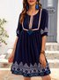 Blue Half Sleeve Printed Boho Cotton-Blend Dresses