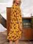 Yellow Half Sleeve Cotton-Blend Dresses