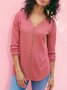 Pink Cotton-Blend Plain V Neck Casual Shirts & Tops