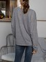 Gray Paneled Crew Neck Long Sleeve Cotton-Blend Shirts & Tops