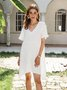 White A-Line Short Sleeve Dresses