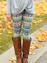 Plus Size Floral Cotton-Blend Vintage Pants