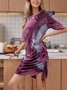 Red Graffiti Long Sleeve Boho Sheath Dresses