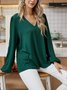 Green Long Sleeve Casual Cotton-Blend Paneled Shirts & Tops