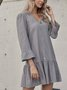 Gray A-Line Casual Frill Sleeve Plain Dresses