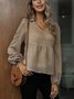 Apricot Long Sleeve V Neck Paneled Cotton-Blend Shirts & Tops