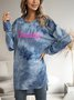Blue Cotton-Blend Ombre/tie-Dye Long Sleeve Paneled Dresses