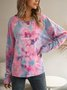 Pink Crew Neck Long Sleeve Ombre/tie-Dye Shirts & Tops