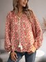 Red Cotton-Blend Floral-Print Long Sleeve Shirts & Tops