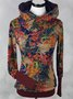 Large size Multicolor Hoodie Abstract Long Sleeve  Sweatshirt