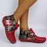 Retro Flowers Boho Winter Boots Casual Printed Flat Heel Boots