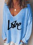 Vintage Love Letter Printed Plus Size Long Sleeve V Neck Casual Tops