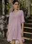 Pink 3/4 Sleeve V Neck Dresses With Necklace
