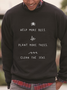 Black Casual Crew Neck Plain Sweatshirt
