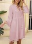 Pink Paneled Long Sleeve Dresses