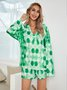 Green Paneled V Neck Boho Cotton-Blend Suits