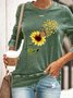 Vintage Long Sleeve Crew Neck Sunflower Printed Plus Size Statement Casual Tops