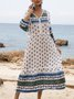 Deep Blue Boho V Neck Tribal 3/4 Sleeve Dresses