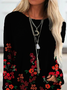 Long Sleeve Shift Vintage Floral Long Sleeve Tops