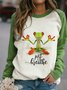 Long Sleeve Cotton-Blend Casual Patchwork Sweatshirt