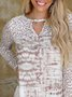 Leopard print stitching long-sleeved v-neck casual and comfortable T-shirt top