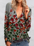 Casual Floral Printed Zipper Button Long Sleeve Shirt
