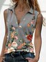 Vintage Printed Floral Sleeveless Shirts & Tops