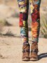 Vintage Printed Leaves Pants