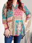 Casual Half Sleeve Floral Shift Shirts & Tops