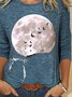 Cat Moon Printed Long Sleeve O-neckl Casual T-shirt For Women