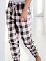 Casual All-Match Plaid Drawstring Pants