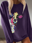 Long Sleeve Cotton Floral-Print Crew Neck Shirts & Tops