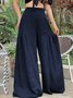 Casual Solid Color Elastic Waist Pleated Plus Size Wide Leg Pants
