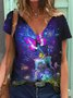 Short Sleeve Butterfly Printed Casual Shirts & Tops