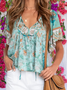 Frill Sleeve Cotton-Blend Casual Shirts & Tops