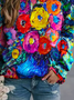 Flower Oil Painting Print Sweatshirt